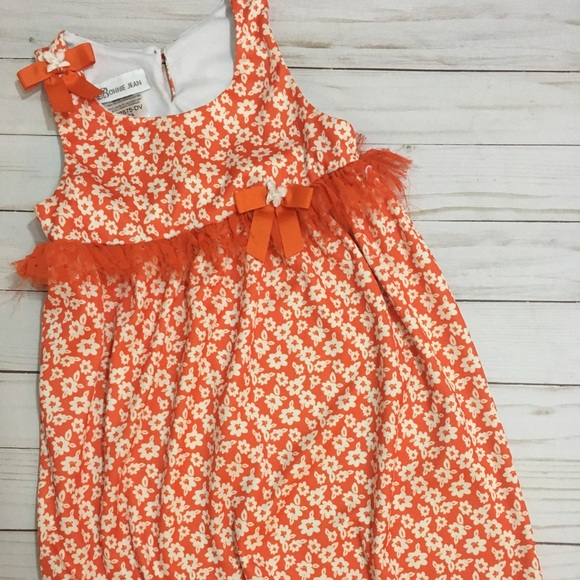 e392f87d33b Bonnie Jean Dresses | Orange Floral Sleeveless Dress | Poshmark
